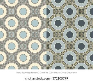 Retro Seamless Pattern 2 Color Set_020 Round Circle Geometry