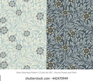 Retro Seamless Pattern 2 Color Set_387_Round Flower Leaf Plant