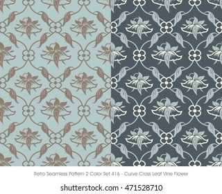 Retro Seamless Pattern 2 Color Set_416 Curve Cross Leaf Vine Flower