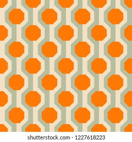 Retro seamless pattern from the 50s and 60s. Seamless abstract Vintage background in sixties style. Vector illustration.