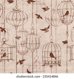 Retro seamless pattern with birds and cage