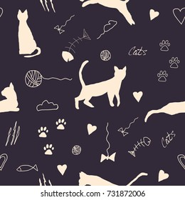 Retro seamless pattern with cats silhouettes