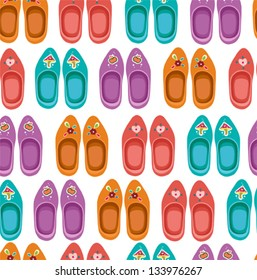 Retro  seamless pattern with clogs. Famous traditional Dutch clogs.
