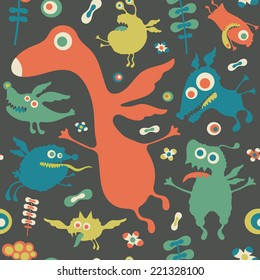 Retro seamless pattern with colorful monsters.