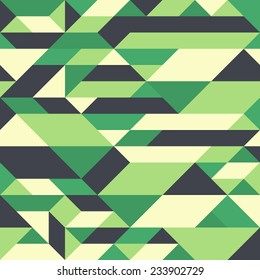 Retro seamless pattern with colorful triangles and rhombuses.