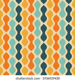 Retro seamless pattern design - colorful nostalgic repeat background for textile, wallpaper, and wrapping paper