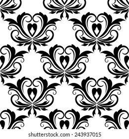 Retro seamless pattern with flourishes and floral motifs