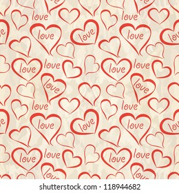 Retro seamless pattern with hearts