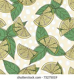 retro seamless pattern with lemon