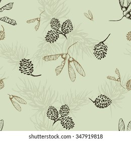 Retro seamless pattern with pine cones