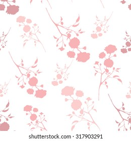 Retro seamless pattern with pink silhouettes of roses Vintage seamless pattern with pink roses