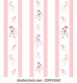 Retro seamless pattern with pink silhouettes of roses and stripes. Vintage seamless pattern with pink roses and stripes
