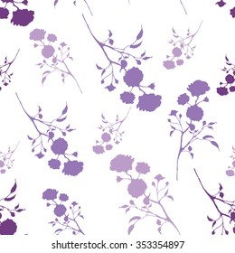 Retro seamless pattern with purple silhouettes of roses Vintage seamless pattern with purple roses.