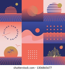 Retro seamless pattern with rising sun theme