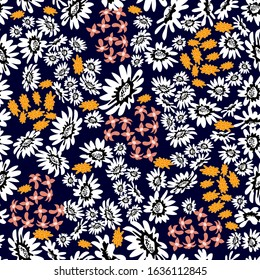 Retro seamless pattern with small wildflowers. Floral print with abstract chamomiles. Template for textile design, cards, scrapbooking.