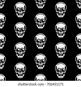 Retro seamless pattern. Vintage print for t-shirt. Bizarre dead heads.