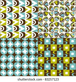 Retro seamless pattern vintage set from the 50s and 60s