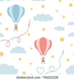 Retro seamless travel pattern of air balloons, sky, stars. Kids fabric textile design. Vector illustration in flat style for wallpaper, background, wrap. Great gor girls and boys. Baby cloth template