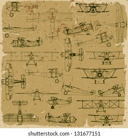 Retro seamless vintage airplanes pattern old paper. Plus three objects  cracked surface. Grunge effects can be removed.