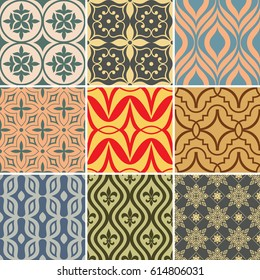 Retro seamless wallpaper patterns. Vintage color backgrounds with geometric and simple floral elements. Vector illustration.