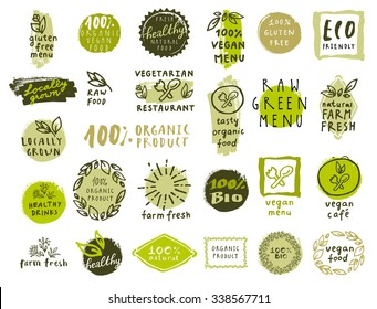 Retro set of 100% bio, organic, gluten free, eco, healthy food labels. Hand drawn logo templates. Vintage elements for restaurant menu or organic food package. Vector health food badges, hipster style
