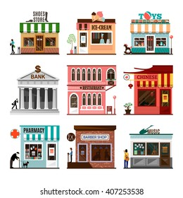 Retro set of detailed flat design city public buildings. Restaurants and shops facade icons. Toys, ice-cream, shoes, bank, music, barber, pharmacy, chinese shops. Cartoon vector icons collection.
