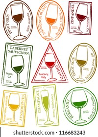 Retro Set of Fun Passport Style Wine Stamps Vector Illustration