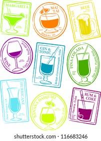 Retro Set of Fun Passport Style Cocktail Stamps Vector Illustration