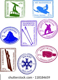 Retro Set of Fun Passport Style Ski Resort Stamps Vector Illustration