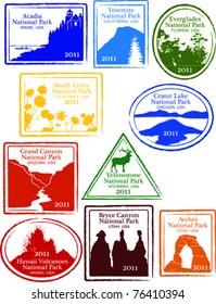 Retro Set of Fun USA National Park Passport Stamps Vector Illustration
