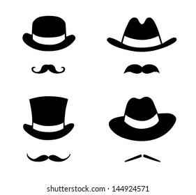 Retro set hat and mustache. Retro style, vector illustration.