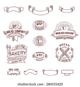 Retro set label of bread bakery. Old style elements, logos, logotypes for badges, bread company, bread house, cafe, cake shop. Logo collection.