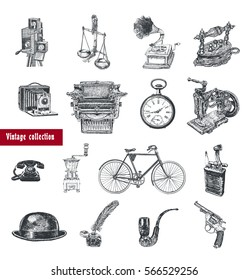 Retro set. Movie camera, typewriter, gramophone, camera, scales, hours, coffee grinder, telephone set, bicycle, old iron, sewing machine, lighter, bowler hat, inkwell, pipe, revolver. Vintage style