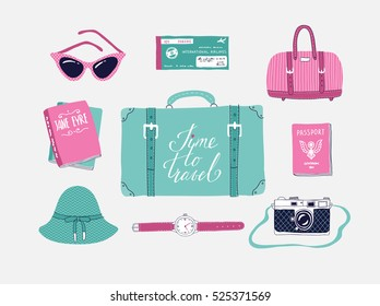 Retro set of vector illustrations about travel , vacation, adventure. Retro 50's style. Hand drawn, travel lettering. Suitcase, bag, camera, clothes and other stuff.