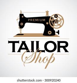 Retro sewing machine. Vintage tailor logo template.Tailor shop theme.