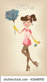 Retro Sexy Housewife. Vector illustration of a sexy housewife in a fifties retro style, cleaning her house.