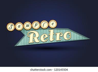 Retro sign, 1960s, 70s style