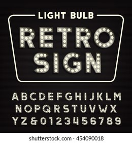 Retro sign alphabet. Vintage light bulb type letters and numbers. Signboard vector font.