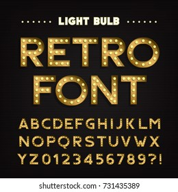 Retro sign alphabet. Vintage light bulb type letters and numbers. Signboard font. Stock vector typeface for your headers and any typography design.