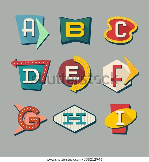Ретро знаки алфавита. Письма о знаках винтажного стиля. Алфавит, напоминающий дорожные знаки 1950-х годов.
