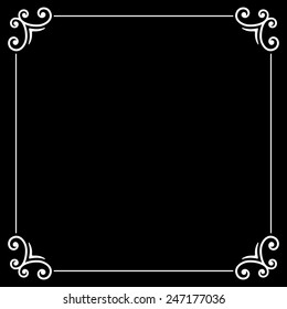 Retro Silent Movie Calligraphic Frame On Black Screen Vector Illustration