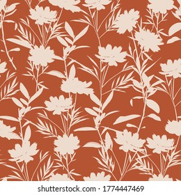 Retro silhouette meadow flowers seamless pattern in vector EPS10, Retro style design for fashion , fabric,web, wallpaper ,wrapping and all prints on vintage brown background