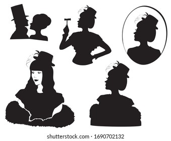 Retro silhouette people set. 1920s art deco and old victorian art style.