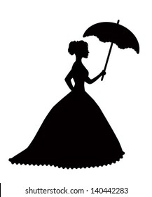 retro silhouette of a woman with an umbrella in a magnificent dress