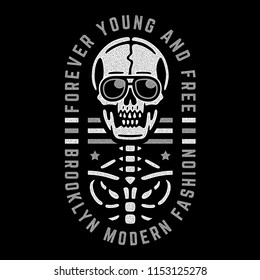 Retro skeleton. Vintage print for t-shirt. Bizarre dead skull. Forever young and free. Brooklyn. Modern fashion.