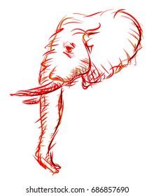 Retro Sketch of an Elephant Head