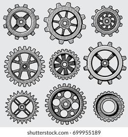 Retro sketch mechanical gears. Hand drawn vintage cog wheel parts of factory machine vector illustration. Gear cog wheel sketch, hand drawing mechanism