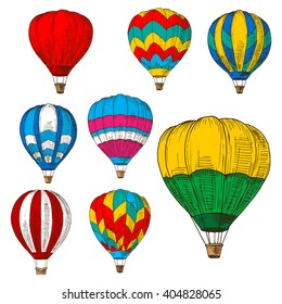 Retro sketched flying hot air balloons with wicker baskets and colorful envelopes, adorned by striped geometric ornaments. Great for romantic weekend, air travel and tourism design usage