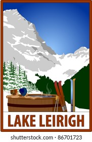 Retro ski poster with placeholder text.