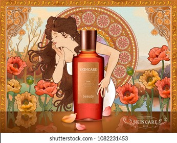 Retro skin care product ads with long hair goddess holding the bottle, poppy flower and decorative mosaic art background